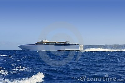 Balearic Islands fast speed Ferry on blue sea
