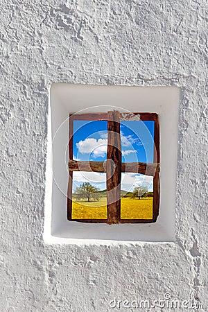Balearic islands golden wheat field through window