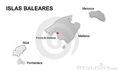 Balearic islands spain vector map