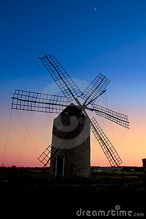 Balearic islands windmill wind mill sunset