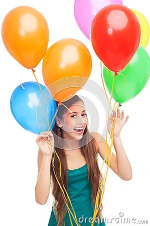 Balões felizes da terra arrendada da mulher