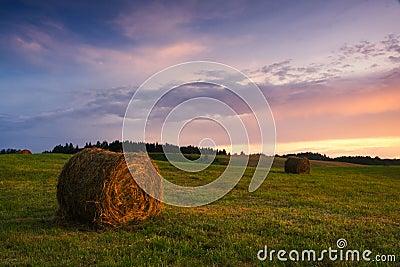 Bales of hay at sunset