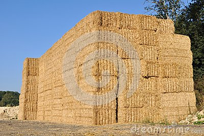 Bales stacked on each other