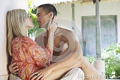 Bali 1 Couple Courtyard Kissing