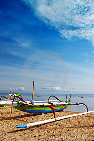 Bali beach & boat at seaside