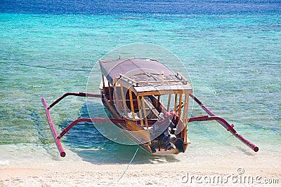 Bali boat, Gili island beach, Indonesia