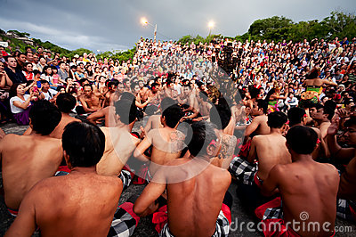 BALI - DECEMBER 30: traditional Balinese Kecak dance at Uluwatu Editorial Photo