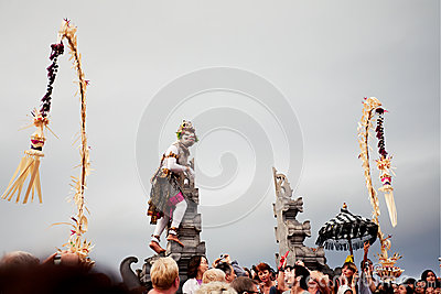 BALI - DECEMBER 30: traditional Balinese Kecak dance at Uluwatu Editorial Photography