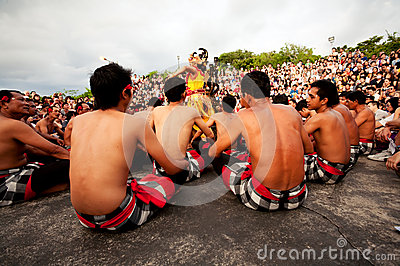 BALI - DECEMBER 30: traditional Balinese Kecak dance at Uluwatu Editorial Image