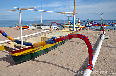Bali Fishing Boat On Beach, Sanur, Indonesia.