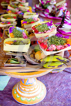 Free Bali Hindu Offerings For Galungan Ceremony Royalty Free Stock Photography - 52594207