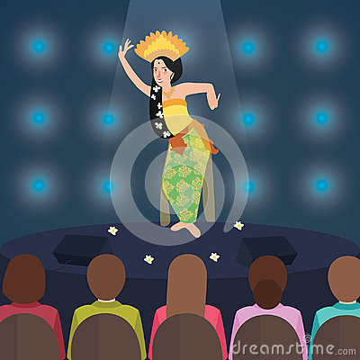 Bali Indonesia dance performance traditional dancer perform in stage in front of tourist people Vector Illustration
