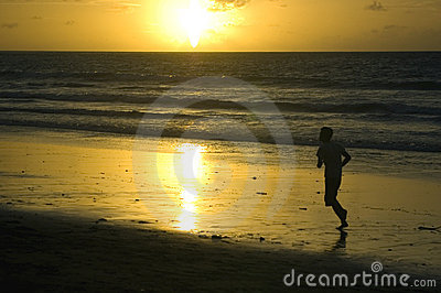 Bali Island, sunset at Kuta beach