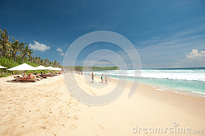 BALI- MAY 8:  Balangan Beach is one of the surfing beaches on th Editorial Photo