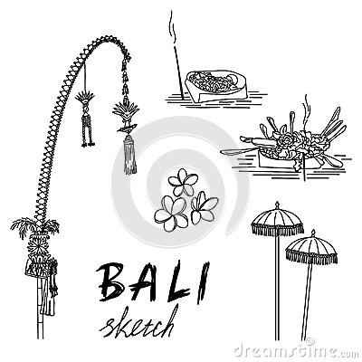 Bali sketch. Penjor for Galungan, ceremonial umbrellas, ceremonial box, frangipani. Vector Illustration