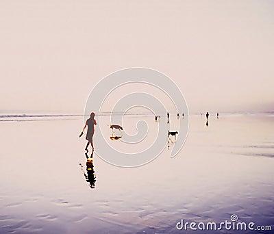 Bali Sunset Beach Walk Indonesia
