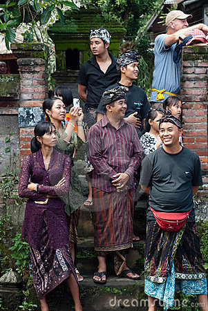 BALI: A tourist mingling with the locals Editorial Image