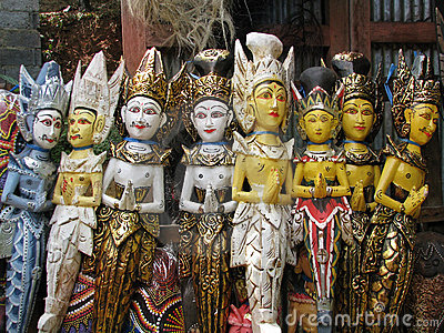 Bali: traditional wooden carvings at a temple