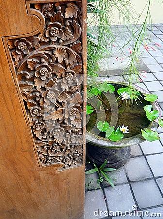 Bali wood carved door