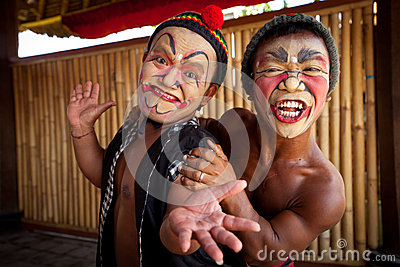 Balinese actors posing for turists Editorial Stock Image