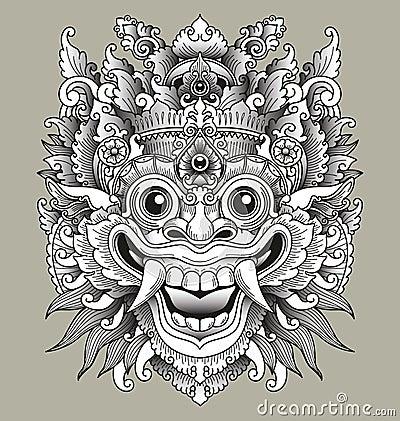 Balinese Barong Traditional Mask Vector Illustration Cartoondealer