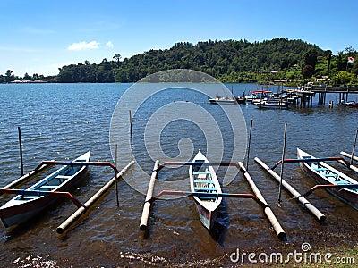 Balinese boats, Lake Brataan scenic landmark