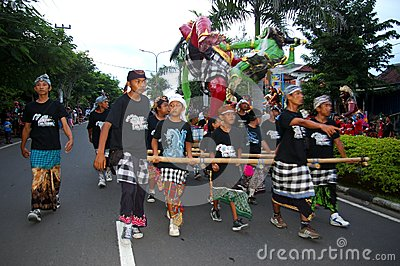 Balinese festival parade Editorial Photo