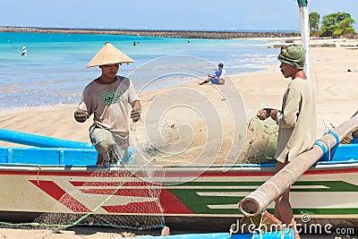 Balinese fishermen Editorial Stock Image