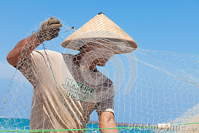 Balinese fishermen Editorial Stock Photo