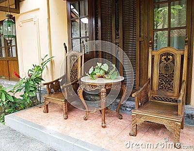 Balinese furniture on patio