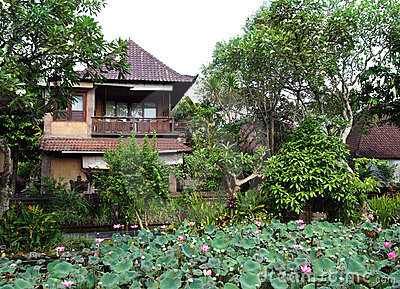 Balinese hotel with lotus pond garden