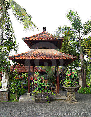 Balinese pavilion in resort garden