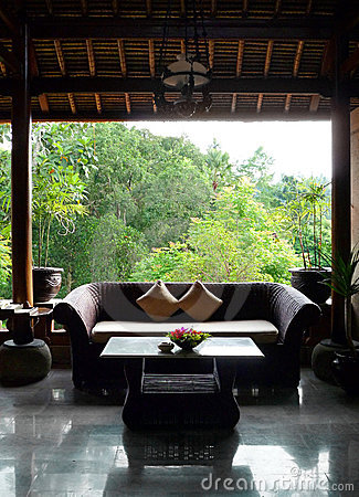 Balinese style patio sitting room