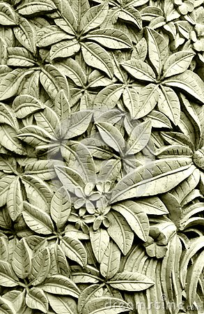 Balinese style stone carving, Plumeria flowers