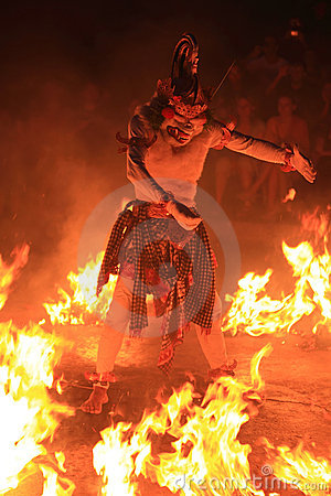 Balinese Traditional Dance-Fire Dance Editorial Photography