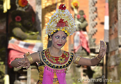 Balinese waman performs Barong and Kris Dance Editorial Photography