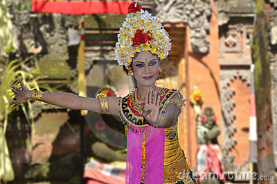Balinese waman performs Barong and Kris Dance Editorial Stock Image