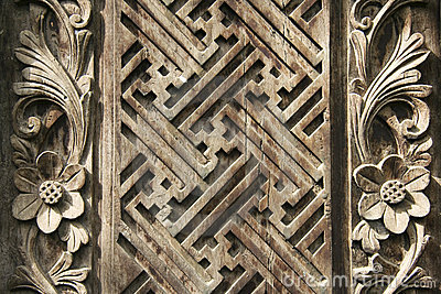 Balinese wood carving design background