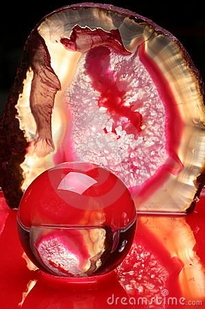 Ball and agate in red light
