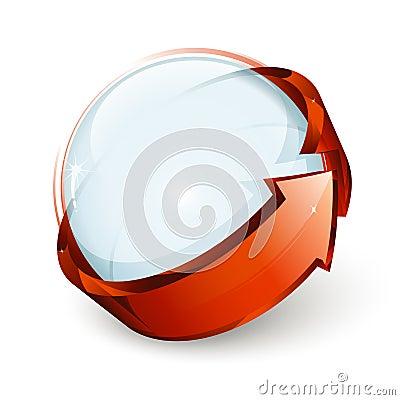 Ball and arrow icon