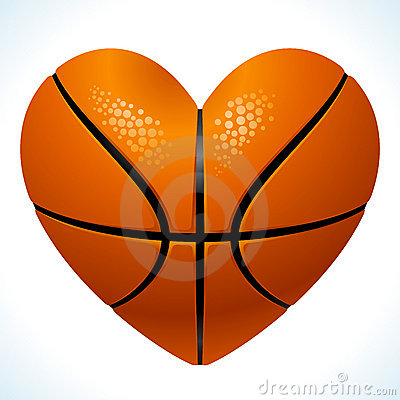 Ball for basketball in the shape of heart