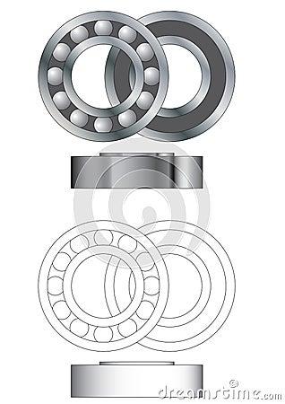 Ball bearing assembly vector