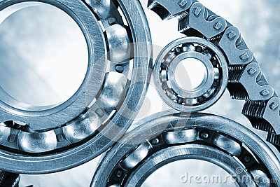 Ball-bearings, gears in close-ups
