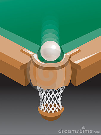 Ball at billiard-pocket