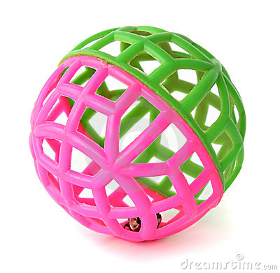 Ball, brightly pink and green color