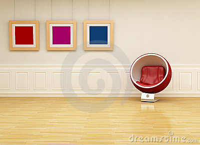 Ball chair in a classic lounge