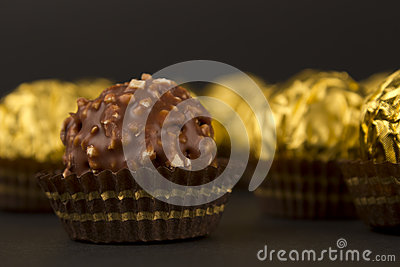 Ball of chocolate and hazelnuts