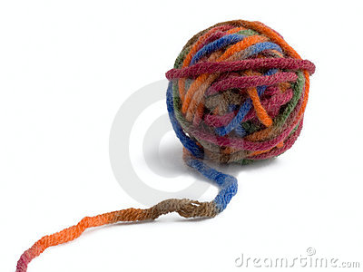 Ball of a color thread for knitting