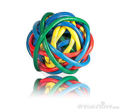 Ball of Colored Network Cables with Reflection