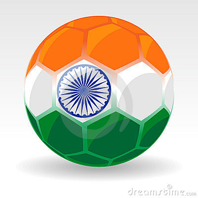 A ball covered with Indian Flag